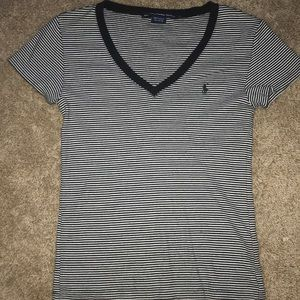 Ralph Lauren black and white striped v neck